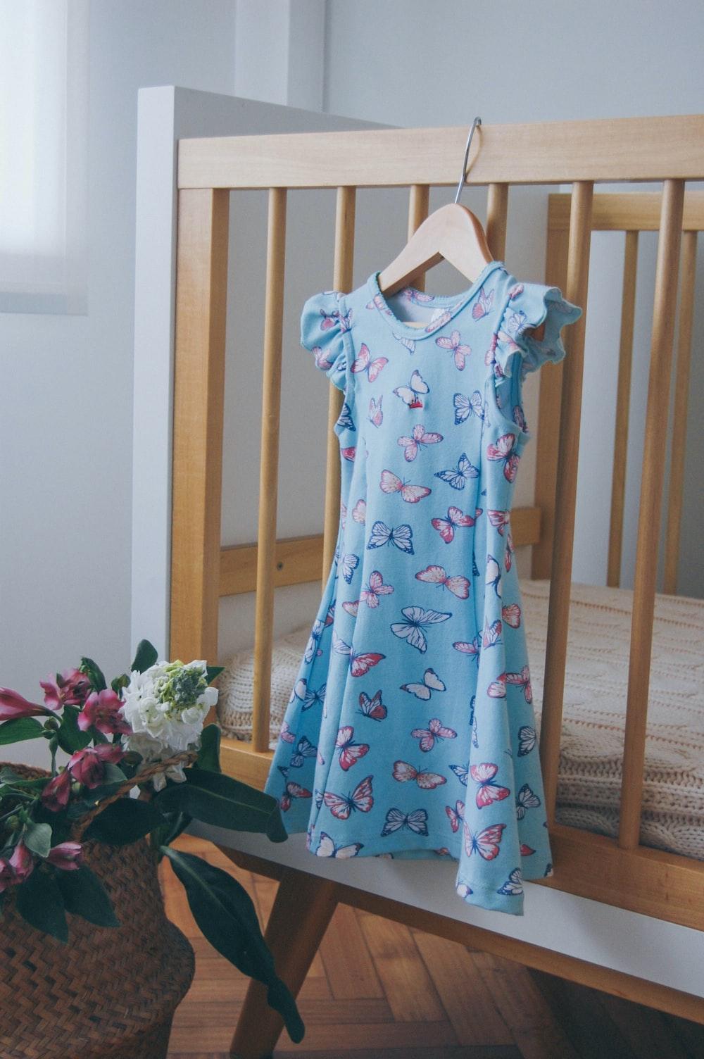 women's blue scoop-neck dress