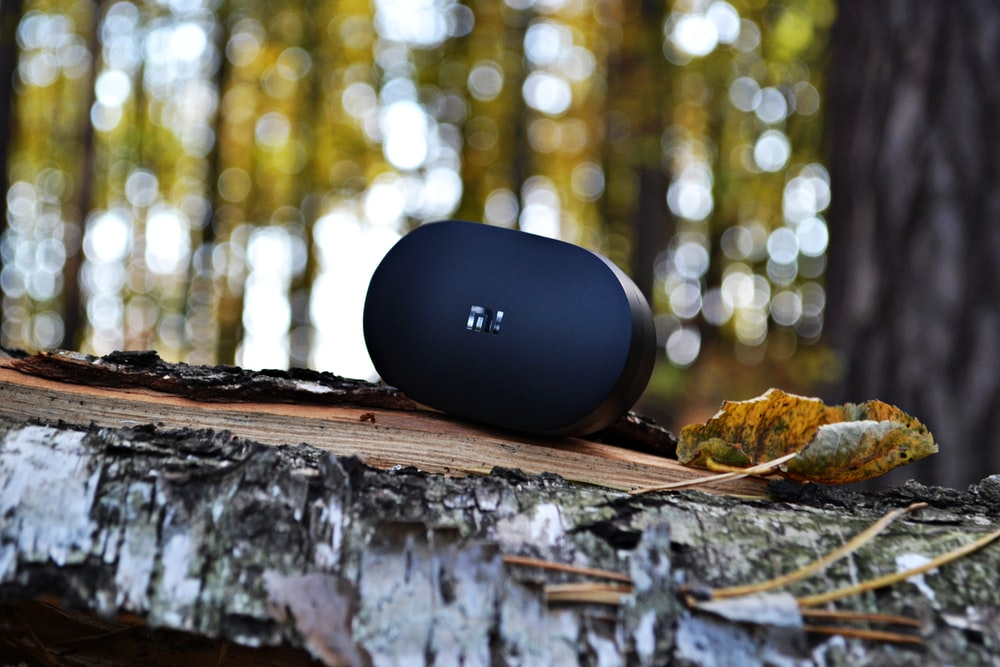 oval black wireless speaker on plank