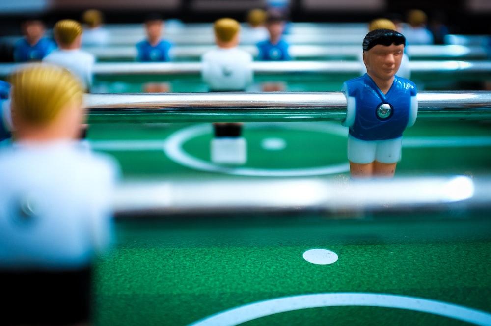 multicolored Foosball table
