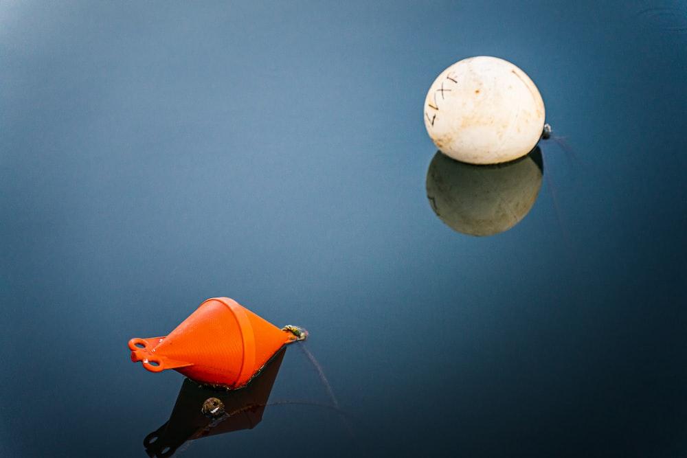 orange and white plastic toys