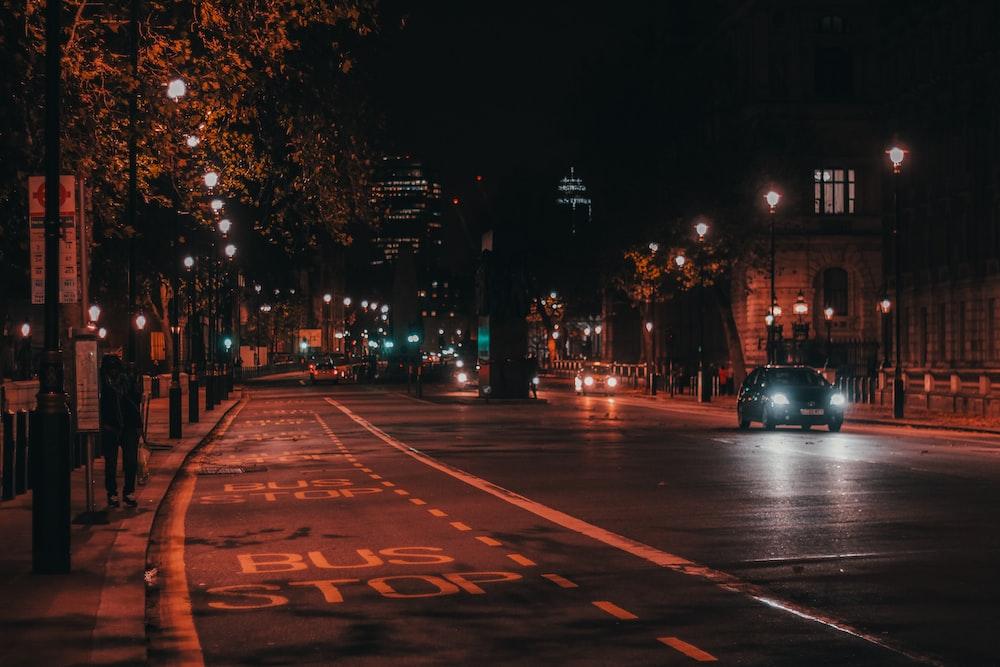 vehicle on street at night
