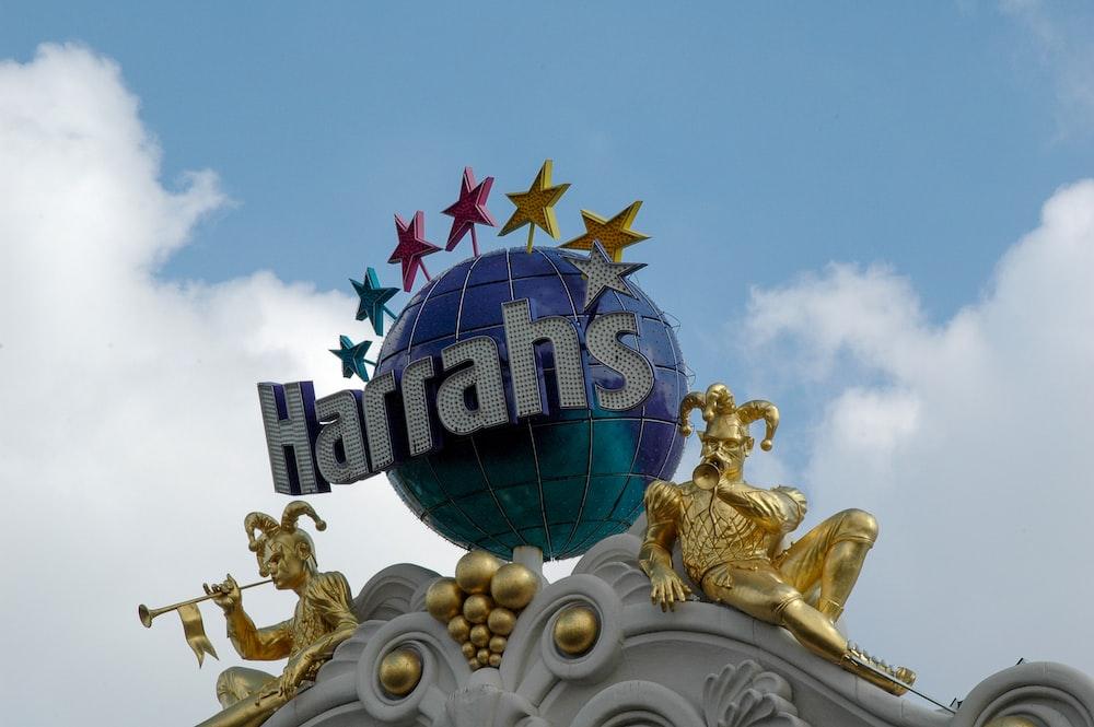 Harrahs globe sign under blue sky