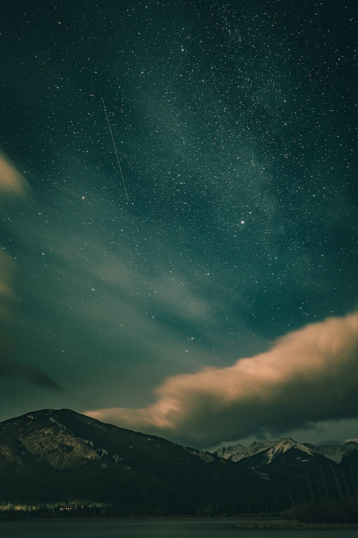 mountain range during nighttime