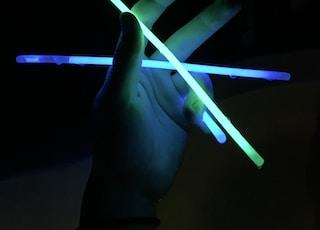 light sticks in hand or something