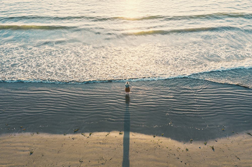 aerial photography of person near seashore during daytime