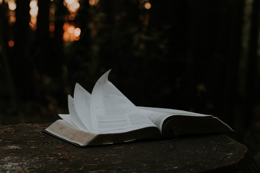 An open book (Bible) with pages flipping