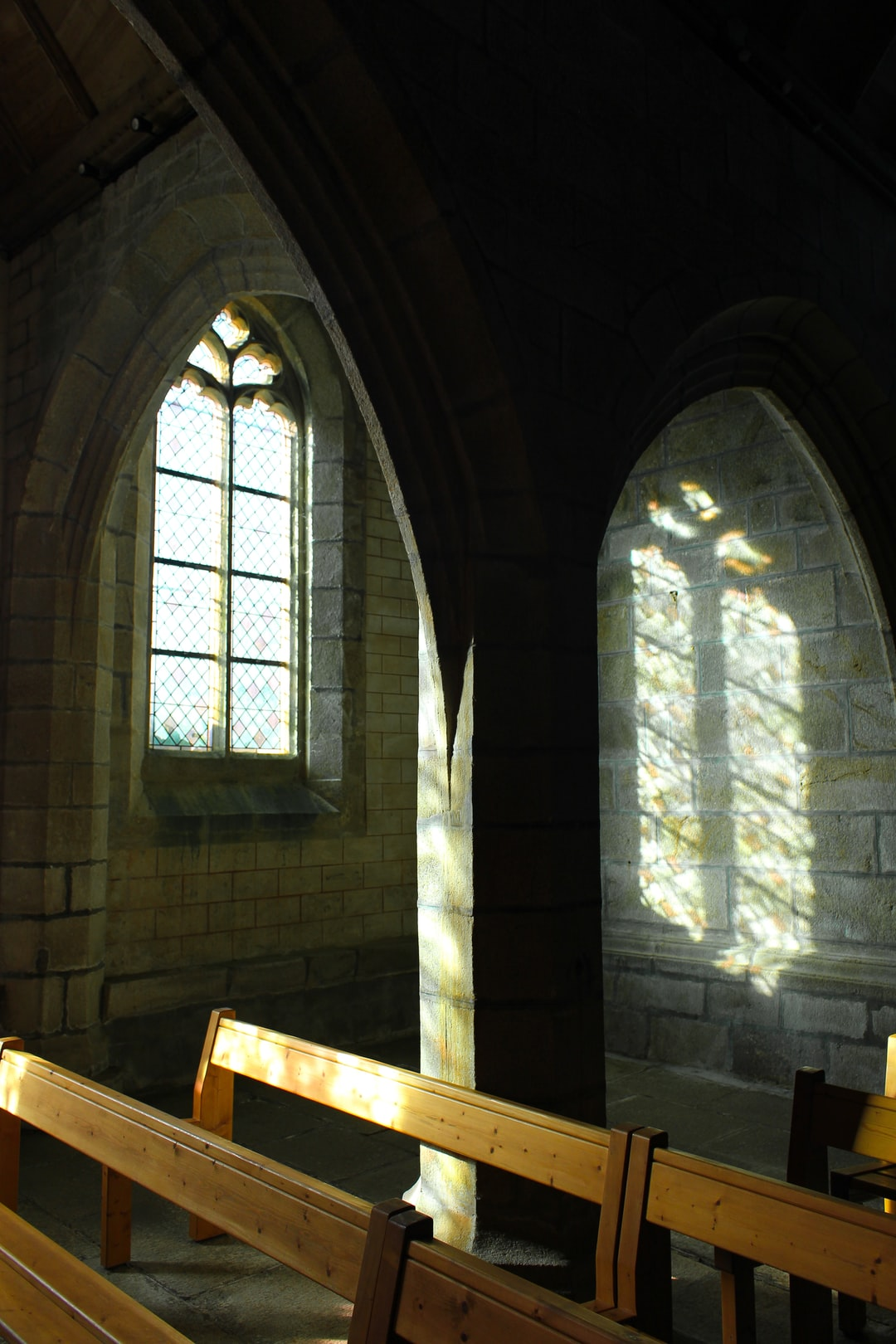 Early morning in a lost chapel. Nobody, except the holy light...