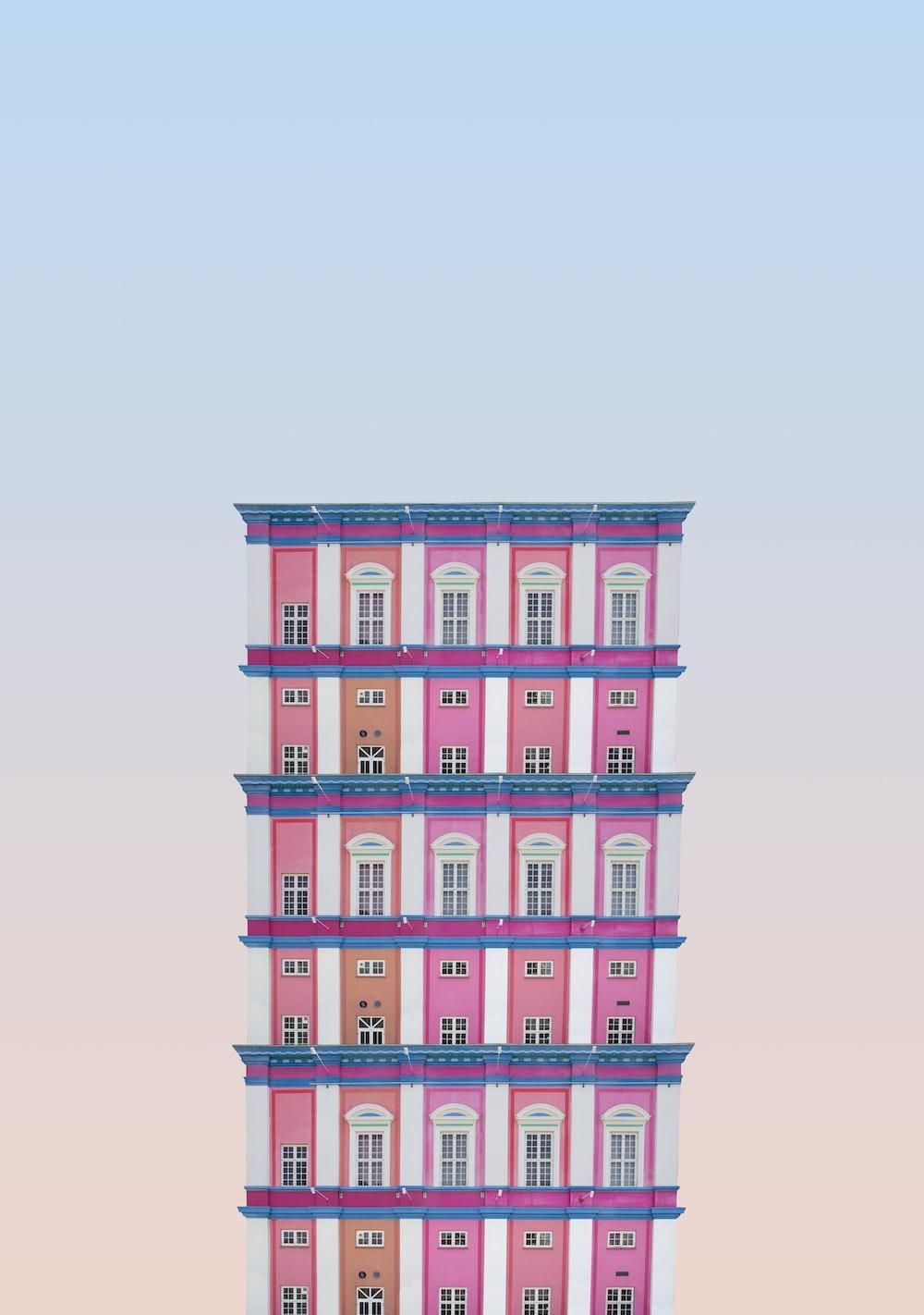 pink and orange 5-storey building