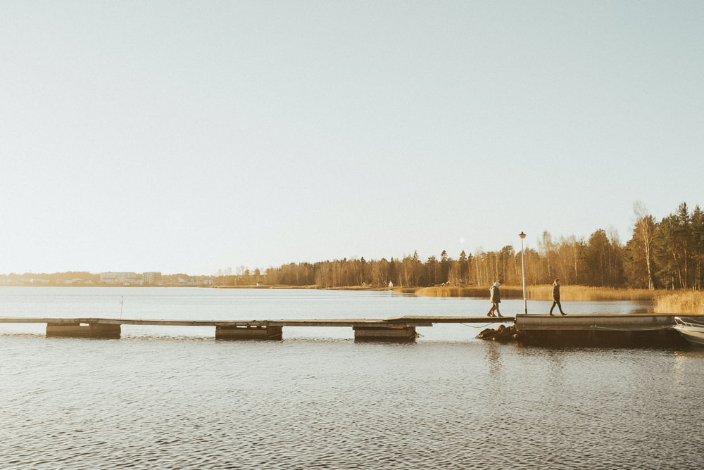 people walking on dock during day
