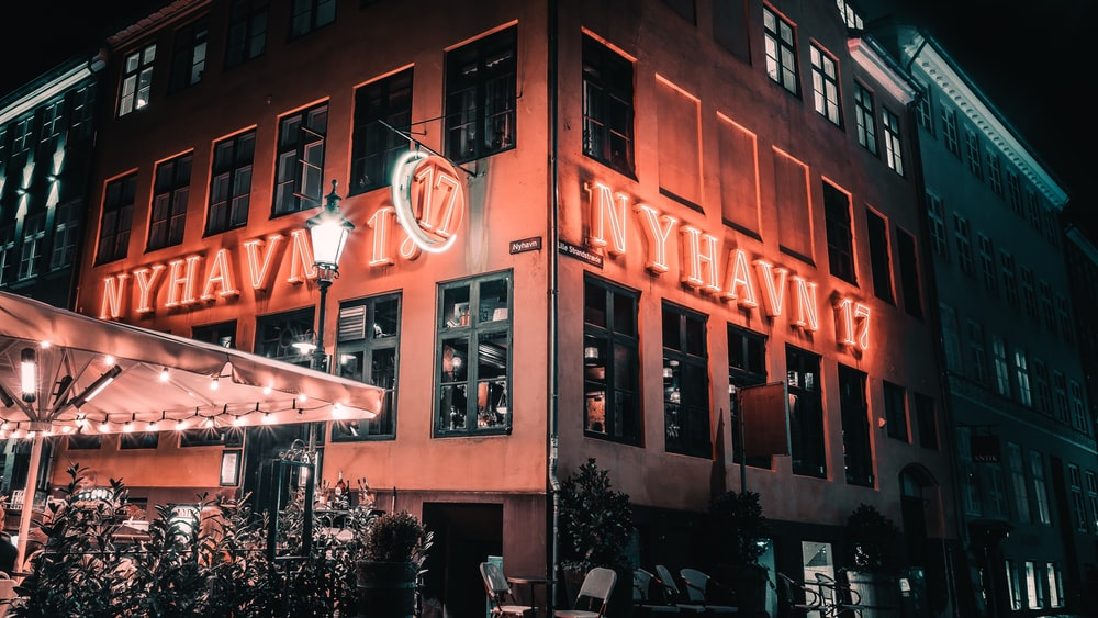Nyhava 17 lighted signage on building