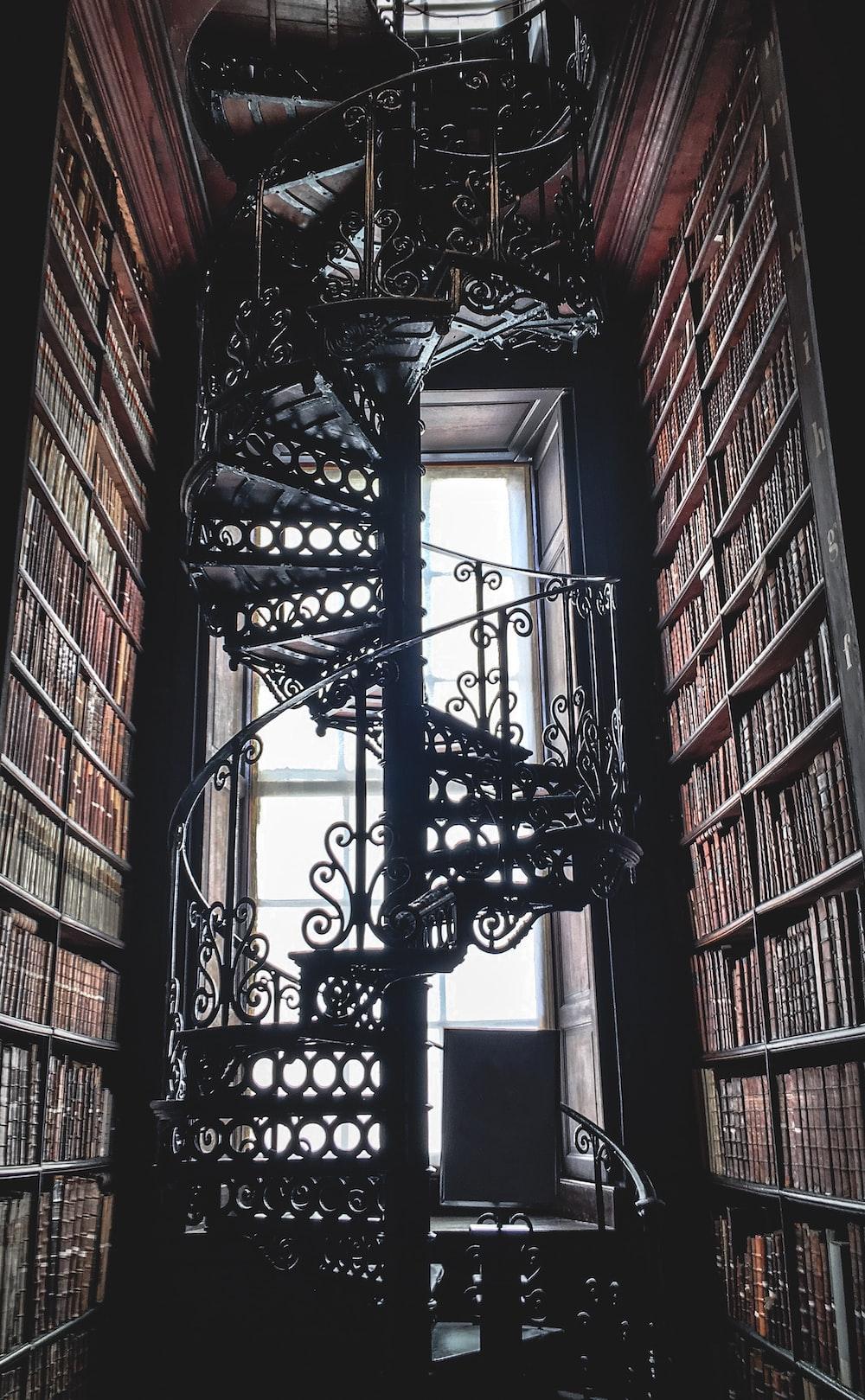 black metal spiral stairs