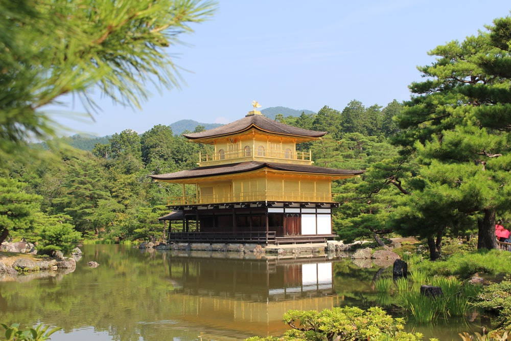 brown and beige pagoda by body of water during daytime