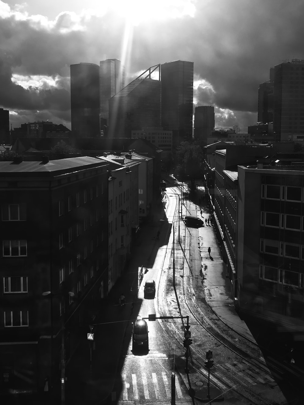 grayscale photography of buildings during daytime