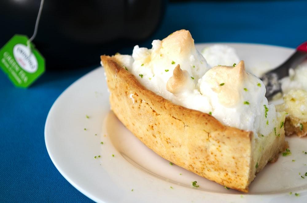 slice of pie on white saucer