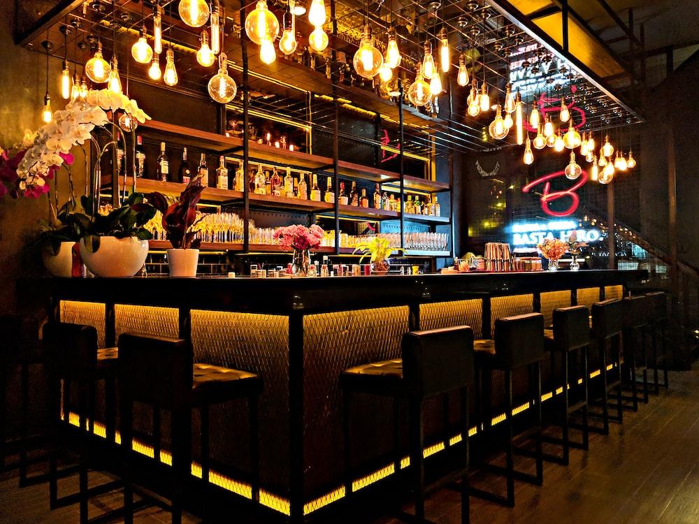 light bulbs over bar area