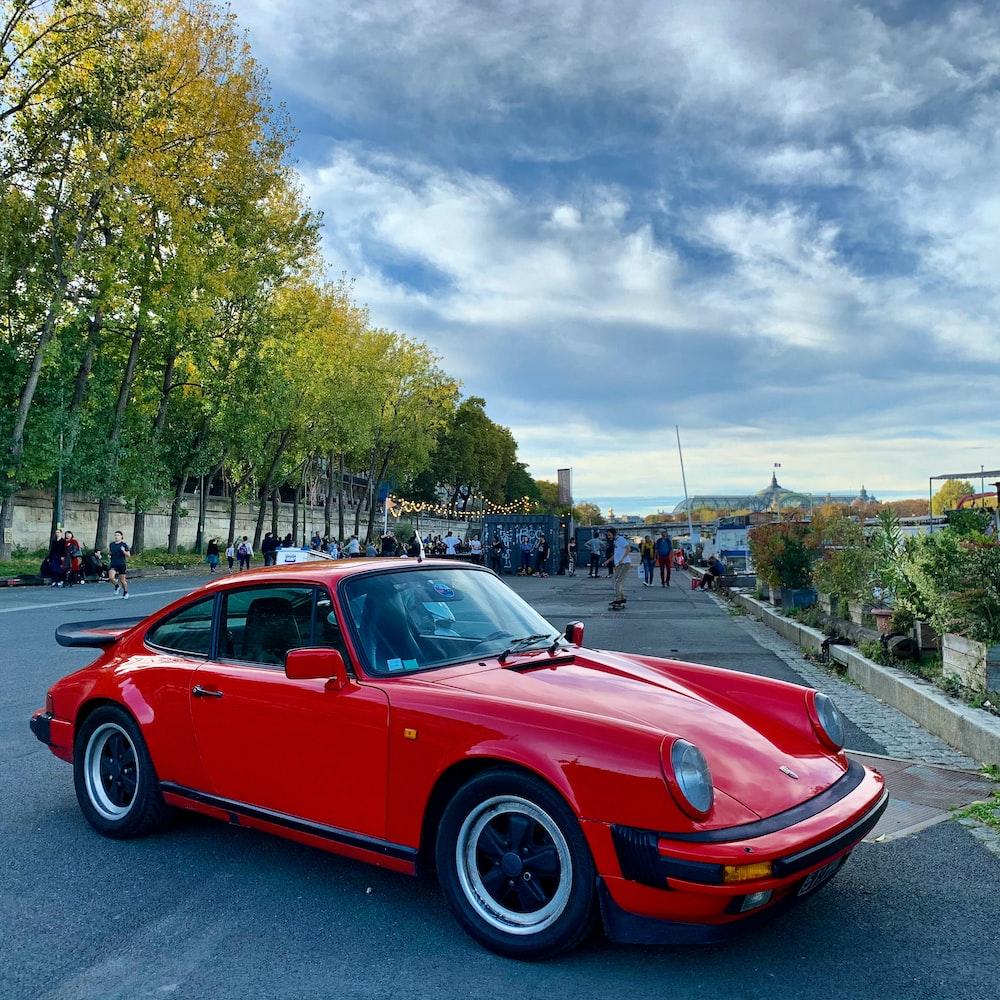 red Porsche coupe