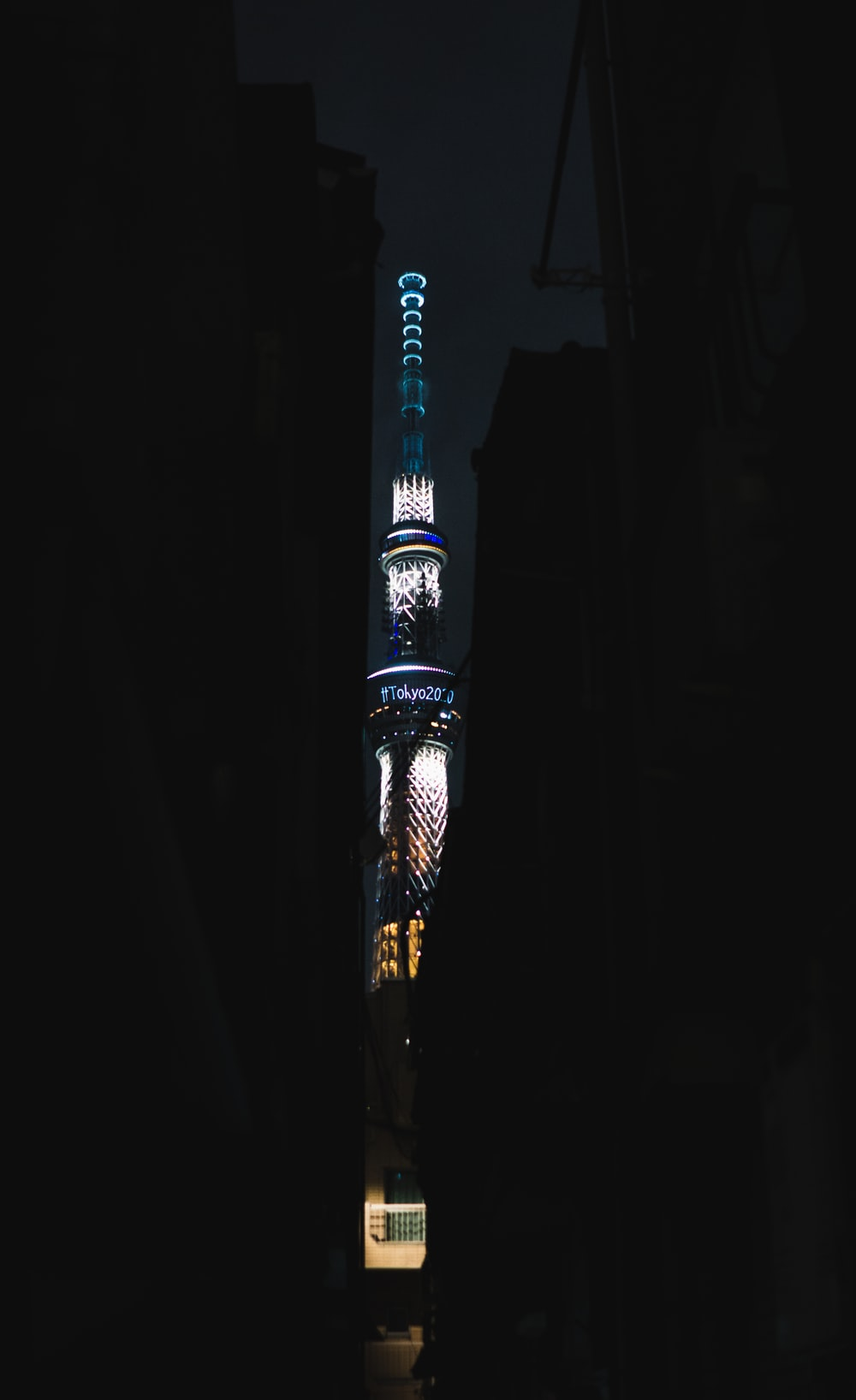 lighted tower at night