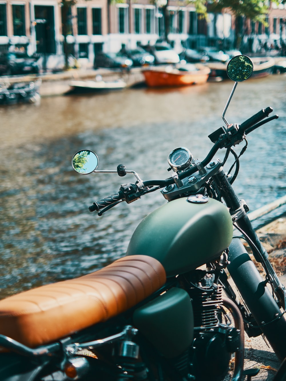 brown and green motorcycle
