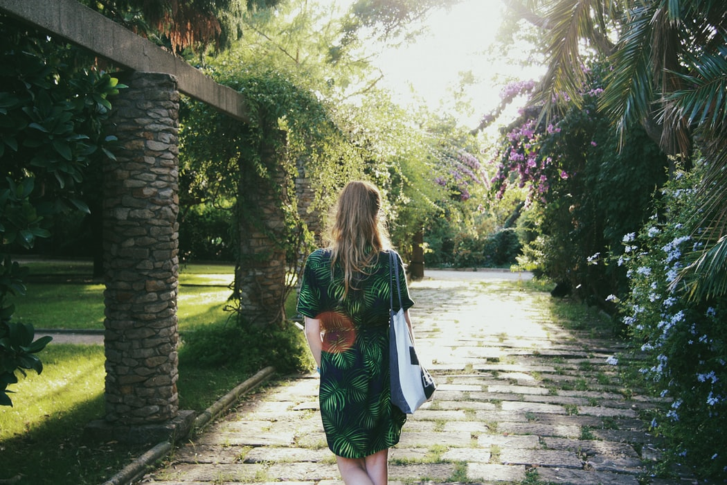 A girl in one of the Montjuïc gardens