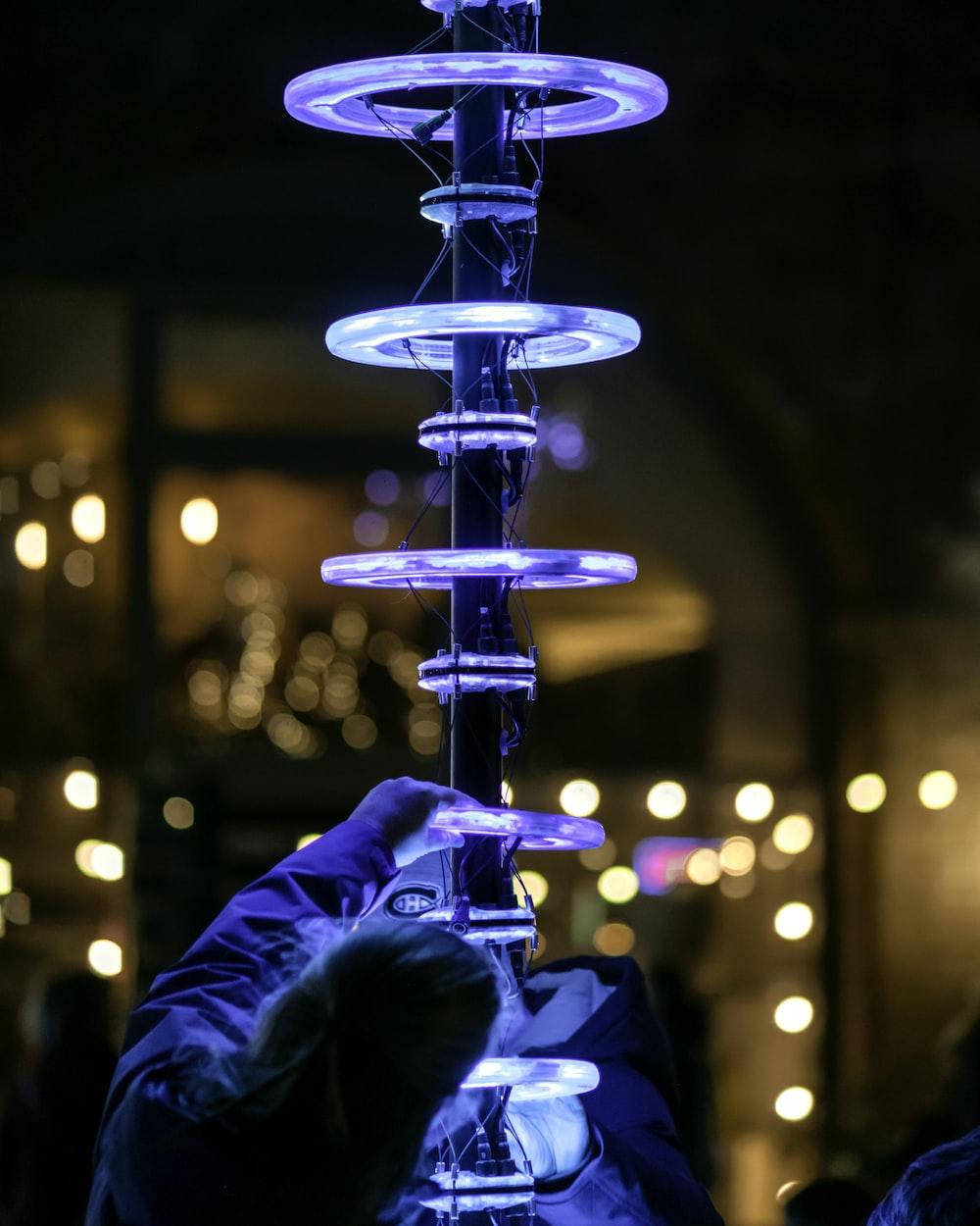 blue fountain light