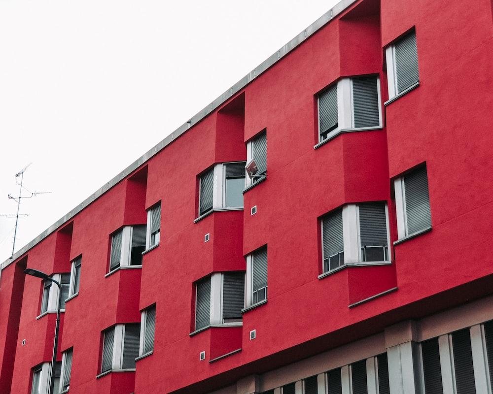 red concrete multi-storey building