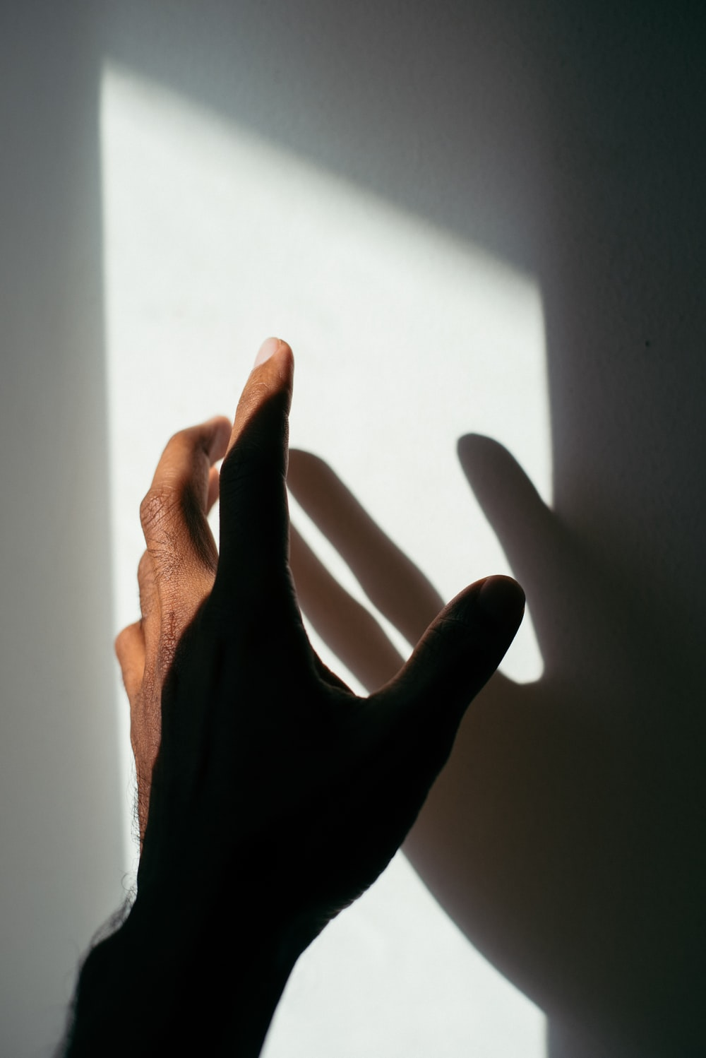 person's left hand and shadow