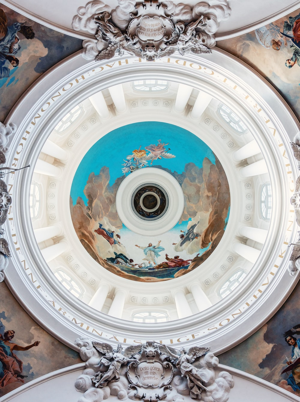 ceiling of a building with toile painting