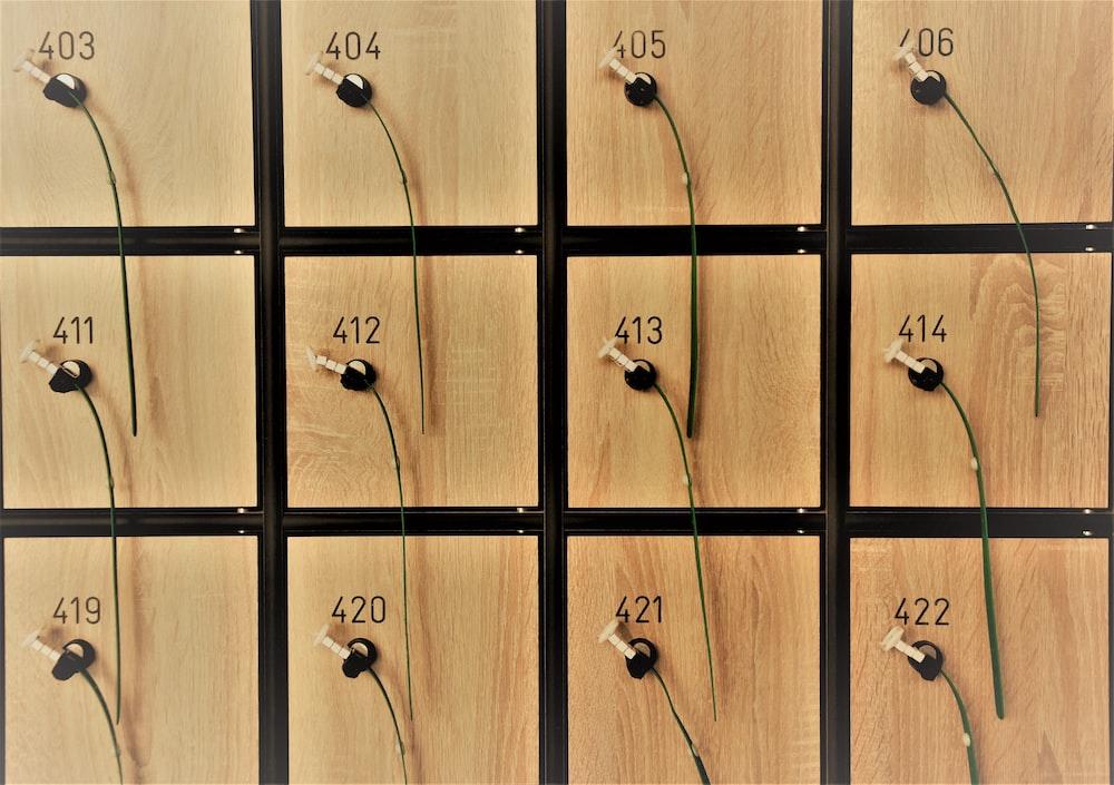 brown and black wooden locker