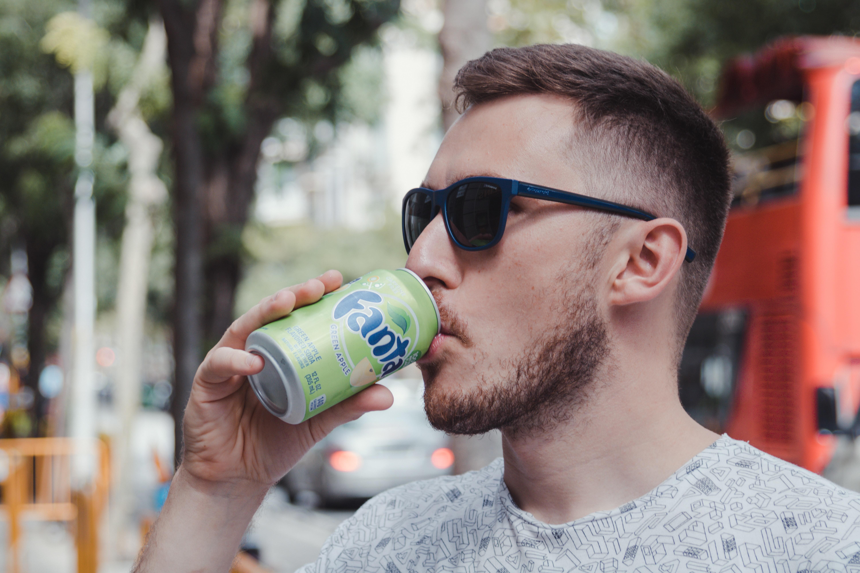 Man Drinking Fanta