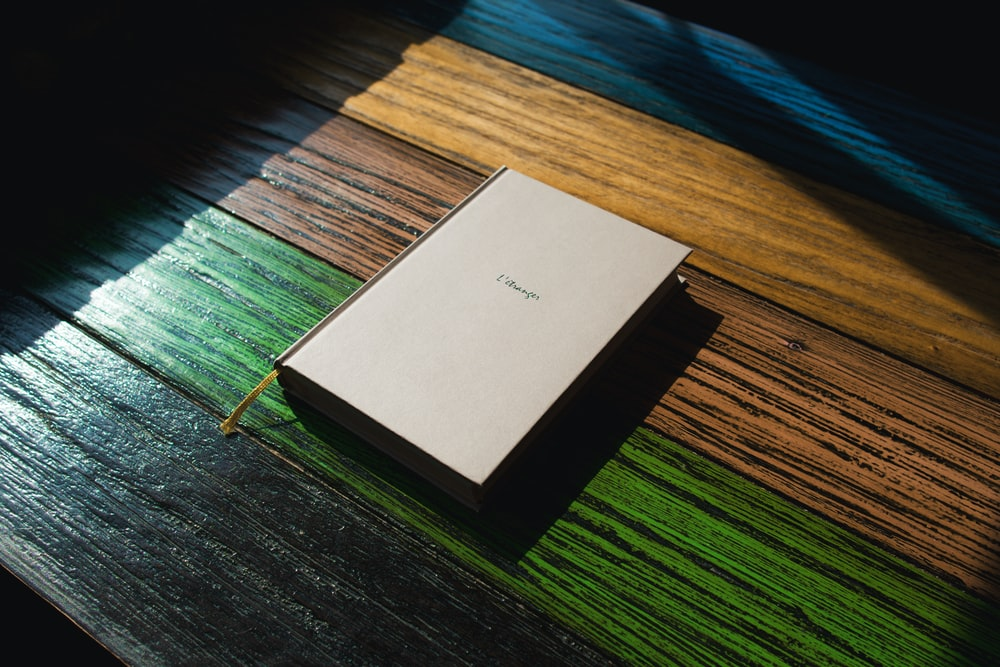 white book on wooden table