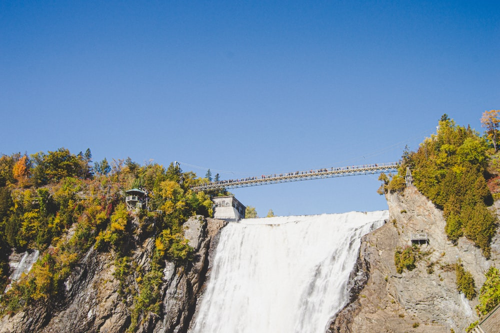 bridge on waterfall
