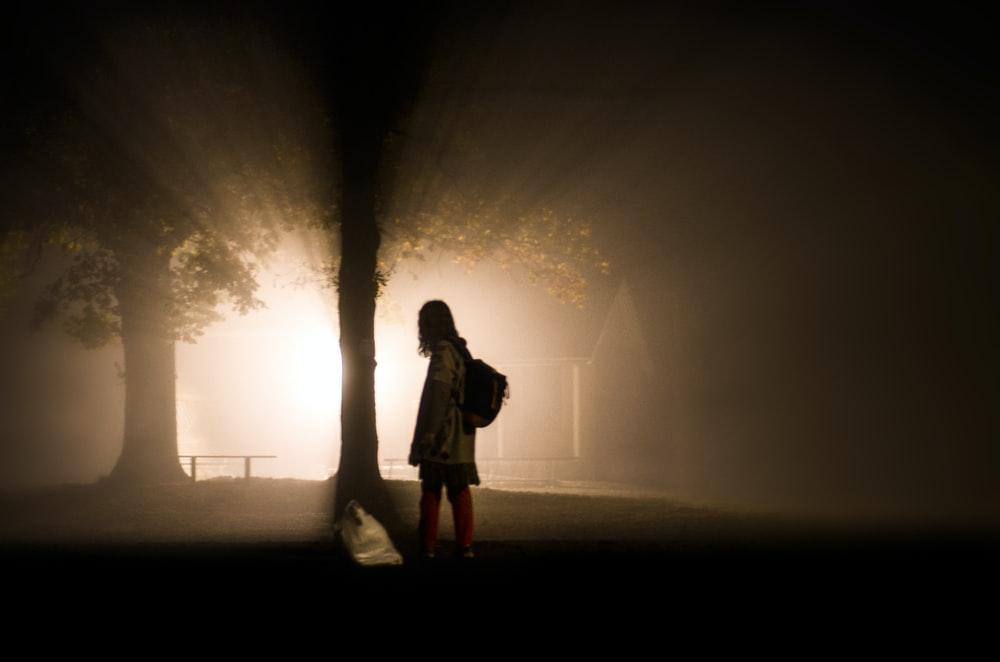woman standing beside tree with ray of lights