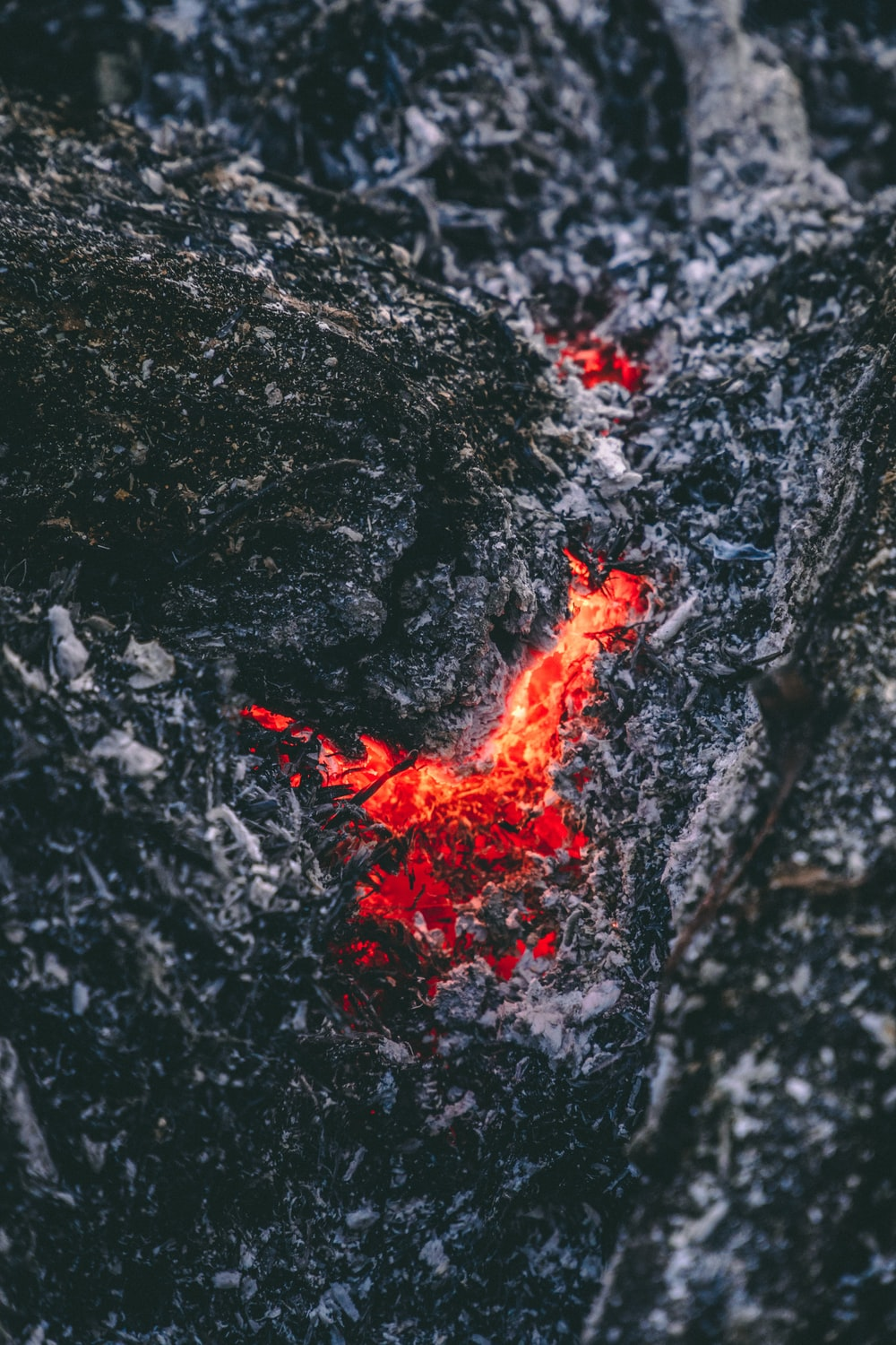 red lava from mountain