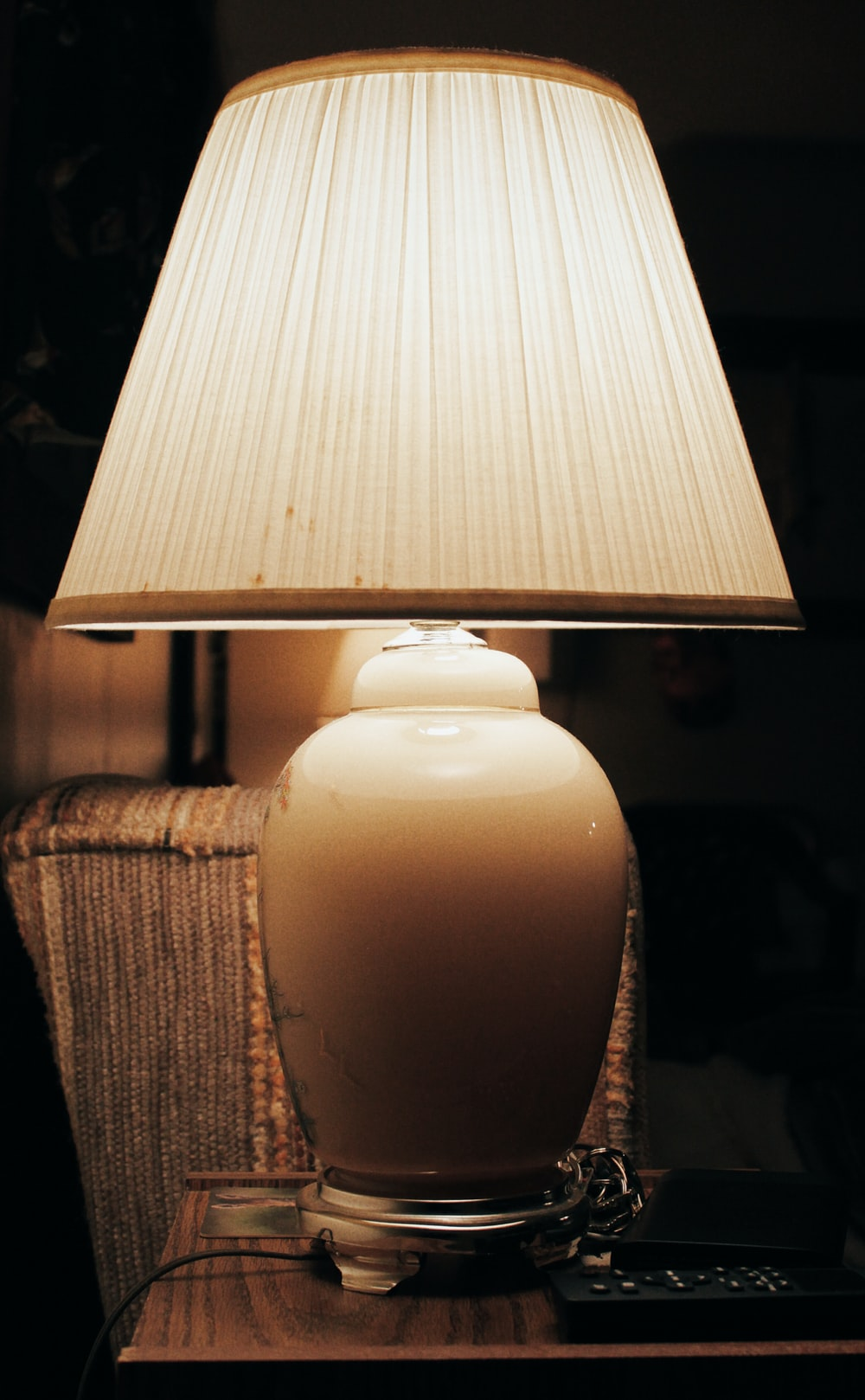 table lamp turned on