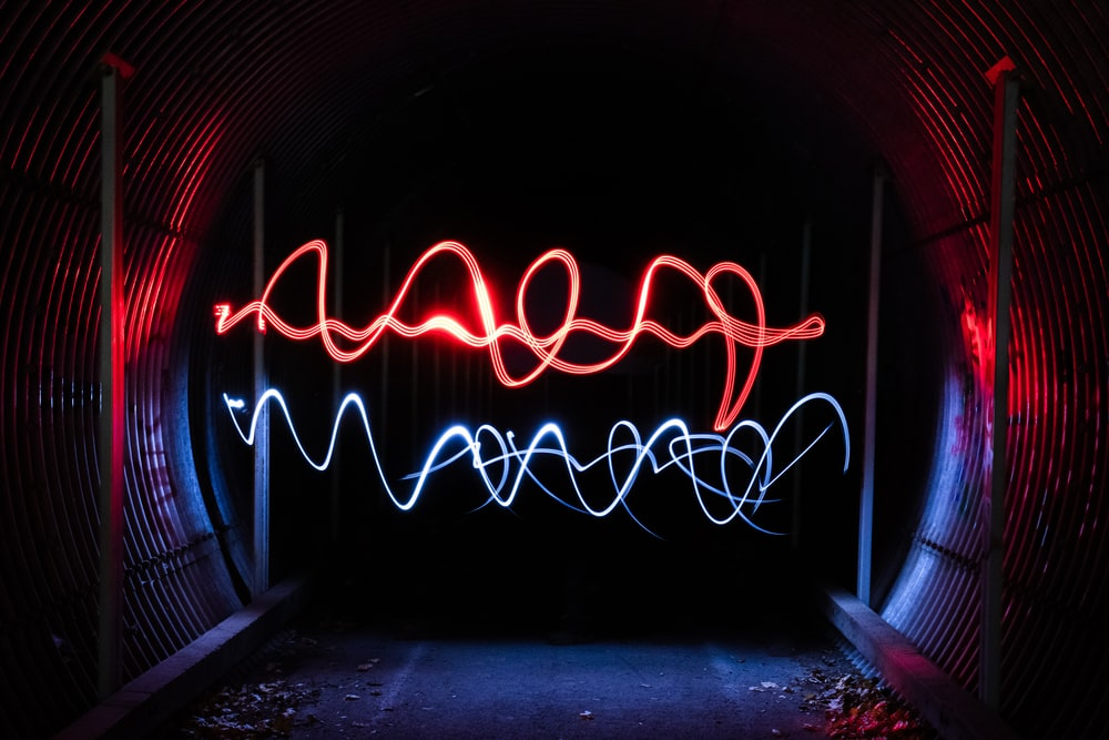 red and blue neon lights