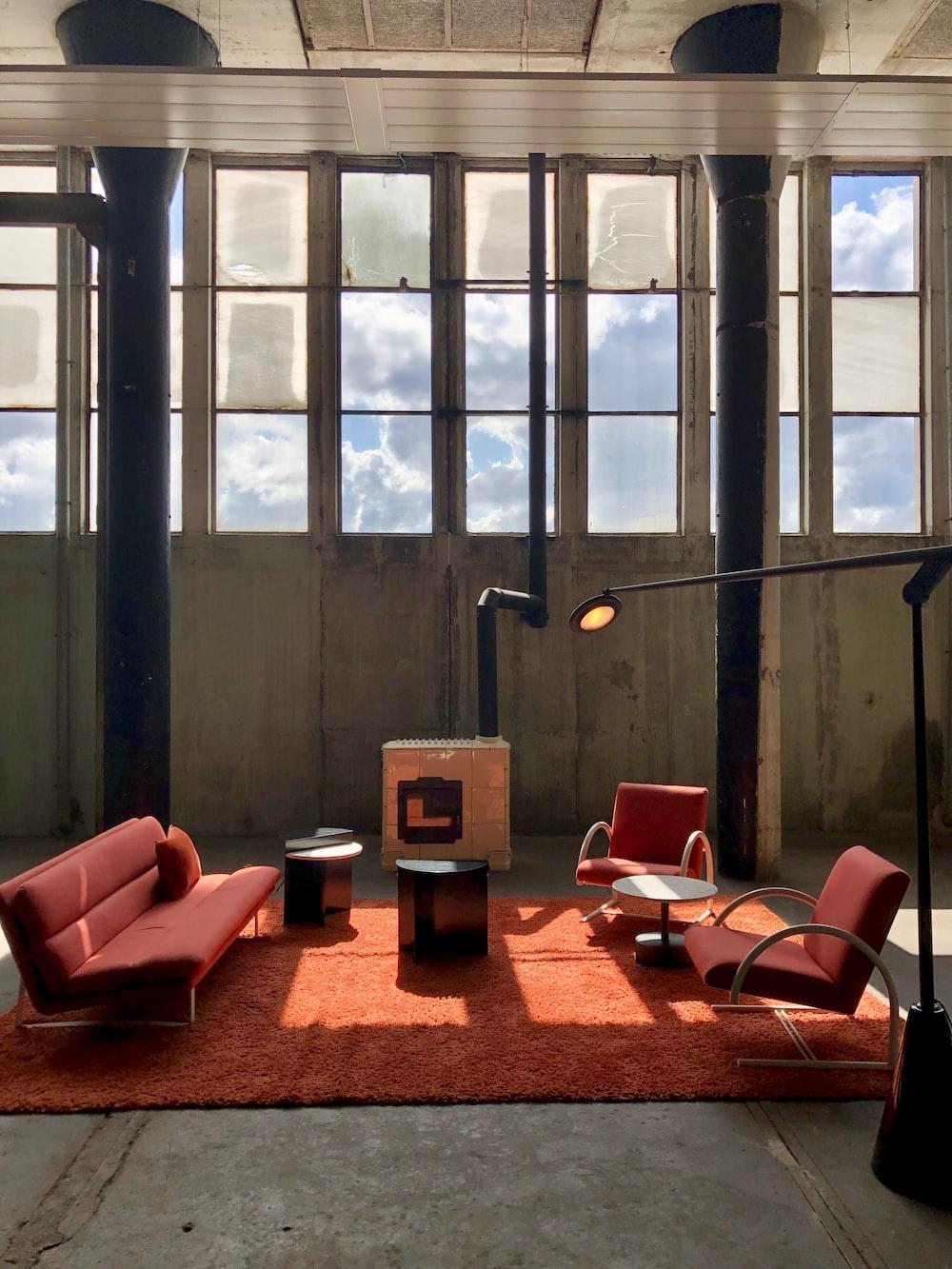 red 3-piece sofa set