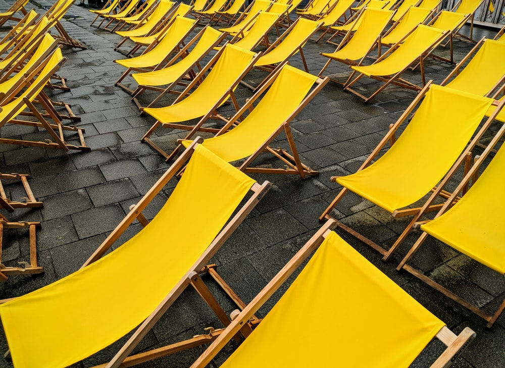rows of yellow lounge chairs