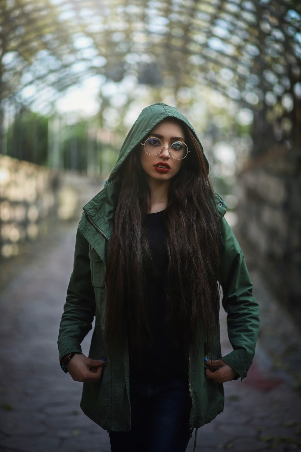 woman with a hooded jacket