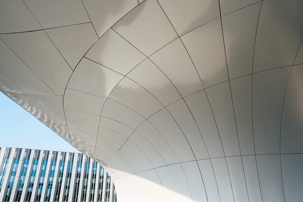 white curved building