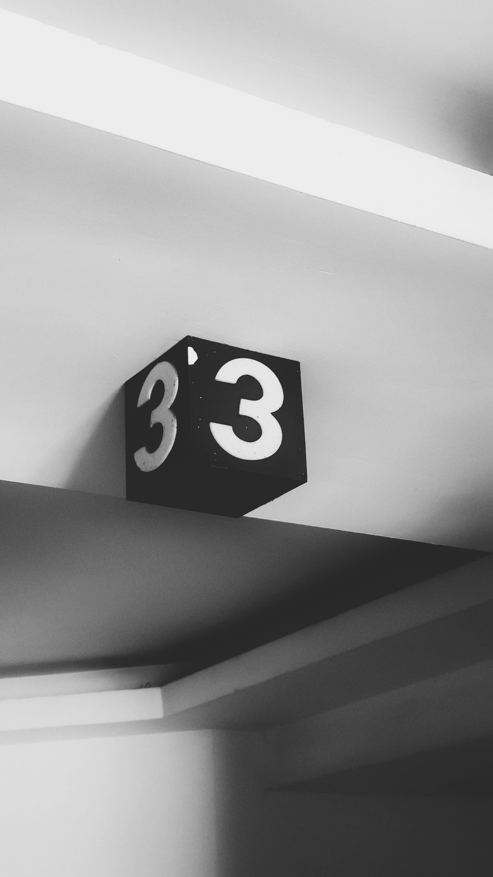grayscale photography of 3 signage
