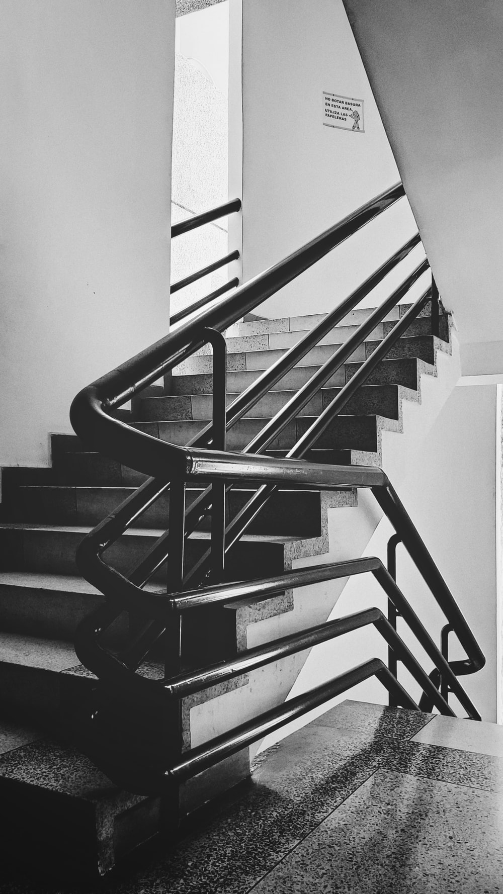 grayscale photography of staircase