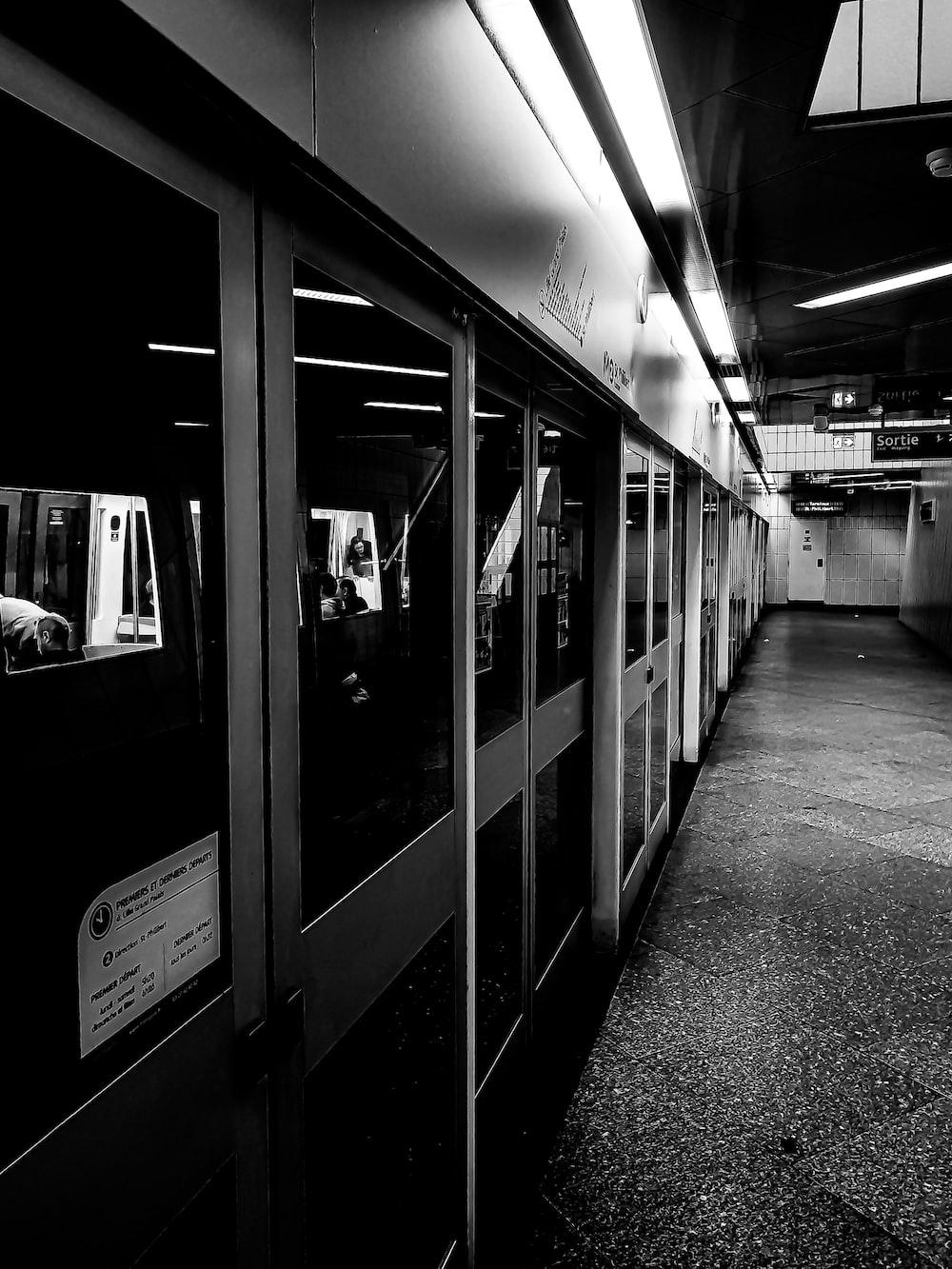 train station grayscsale photo