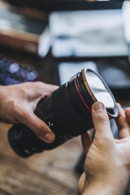 selective focus photo of black lens