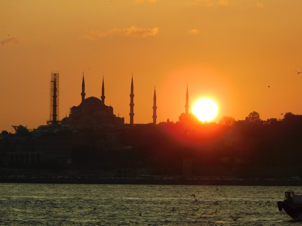 mosque silhouette at golden hour
