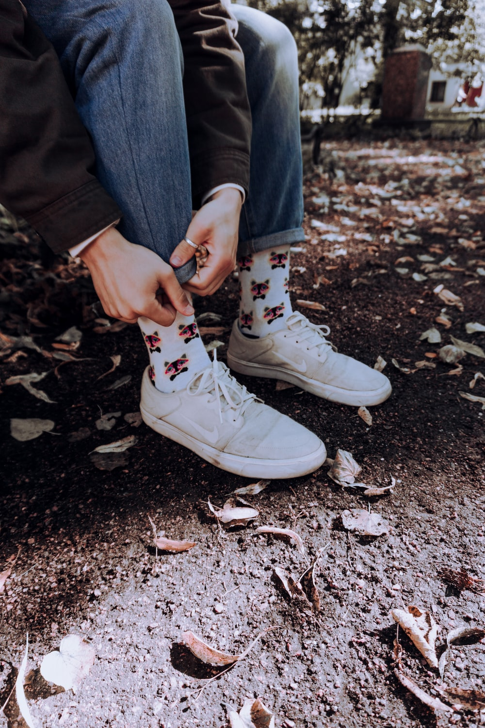 man in white sneakers