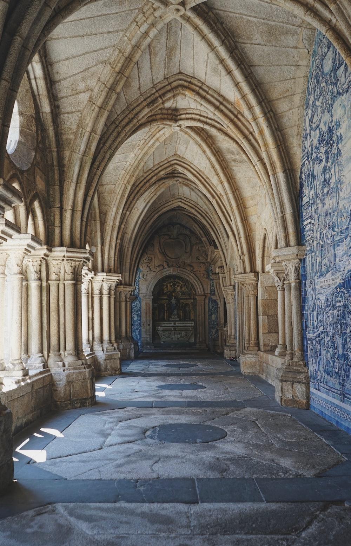 gray and beige stone hallway