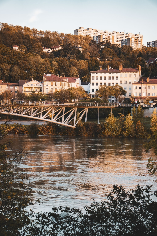 bridge in front of buildings