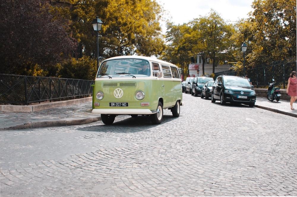 green Volkswagen camper van