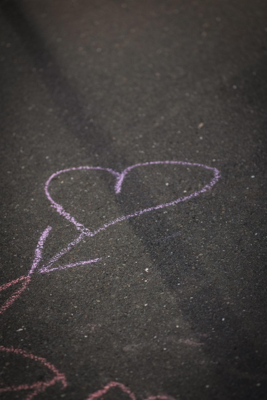 heart-shaped purple chalk drawing