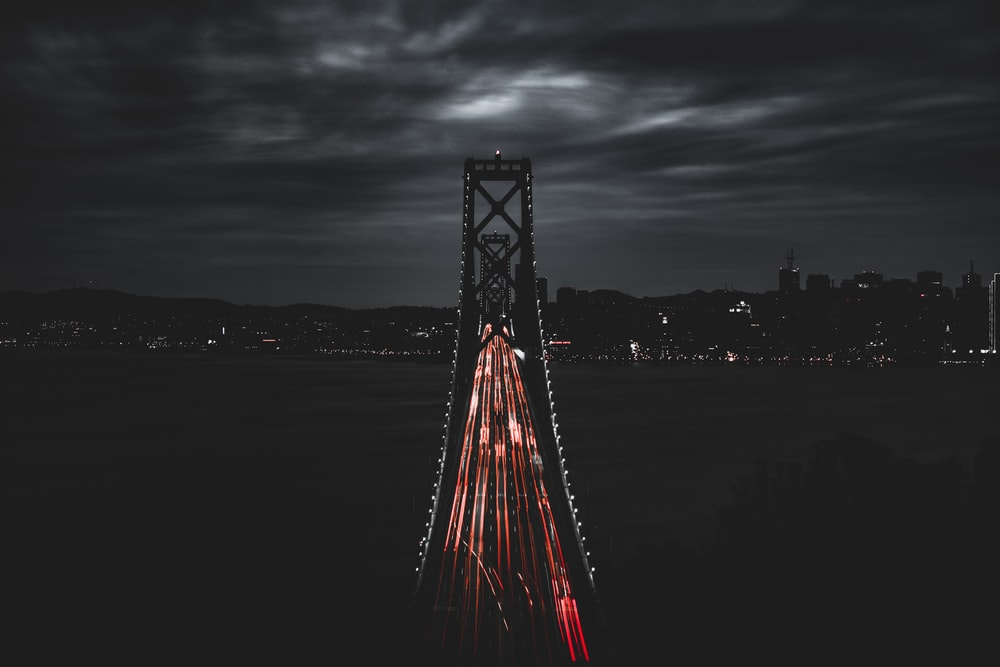 bird's eye view of a lit bridge at night